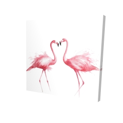 Canvas 24 x 24 - 3D - Two pink flamingo watercolor