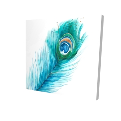 Canvas 24 x 24 - 3D - Long peacock feather