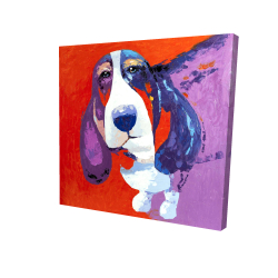 Canvas 24 x 24 - 3D - Abstract colorful basset dog