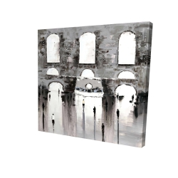 Canvas 24 x 24 - 3D - Gray building with passersby