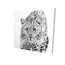 Canvas 24 x 24 - 3D - Leopard ready to attack