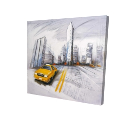 Canvas 24 x 24 - 3D - Yellow taxi and city sketch