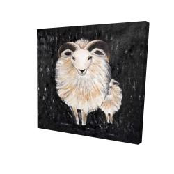Canvas 24 x 24 - 3D - Two bushy ram