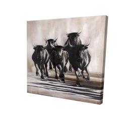 Canvas 24 x 24 - 3D - Group of running bulls