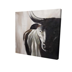 Canvas 24 x 24 - 3D - Bull head front view