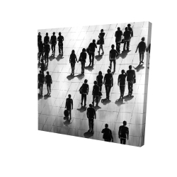 Canvas 24 x 24 - 3D - Silhouettes of people on the street