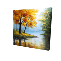 Canvas 24 x 24 - 3D - Trees by the lake