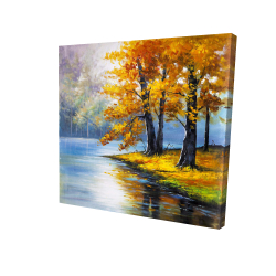 Canvas 24 x 24 - 3D - Two trees by the lake