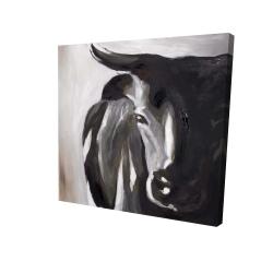 Canvas 24 x 24 - 3D - Bull head closeup