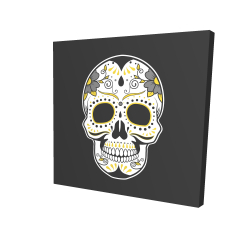 Canvas 24 x 24 - 3D - Mexican sugar skull art