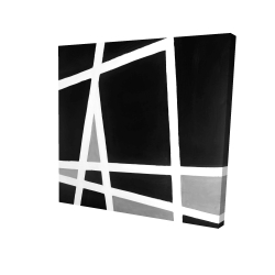 Canvas 24 x 24 - 3D - Black and white abstract shapes