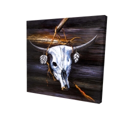 Canvas 24 x 24 - 3D - Hanged skull on a wood wall