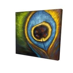 Canvas 24 x 24 - 3D - Peacock feather closeup