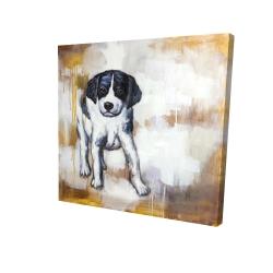 Canvas 24 x 24 - 3D - Curious puppy dog