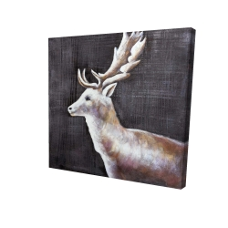 Canvas 24 x 24 - 3D - Deer profile view in the dark