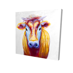 Canvas 24 x 24 - 3D - Colorful country cow