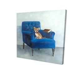 Canvas 24 x 24 - 3D - Chihuahua on a blue armchair