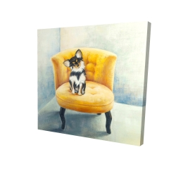 Canvas 24 x 24 - 3D - Long-haired chihuahua on a yellow armchair