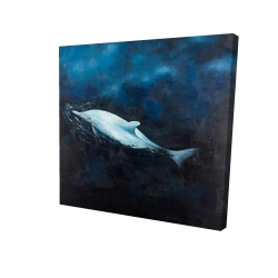 Canvas 24 x 24 - 3D - Swimming dolphin