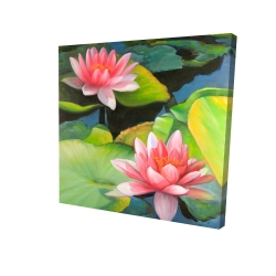 Canvas 24 x 24 - 3D - Water lilies and lotus flowers