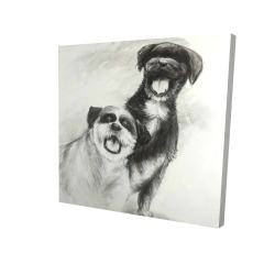 Canvas 24 x 24 - 3D - Happy dogs sketch