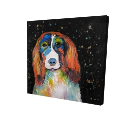 Canvas 24 x 24 - 3D - Colorful dog
