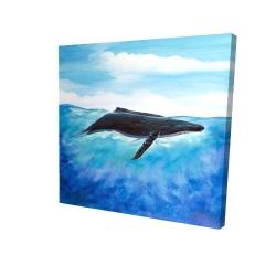 Canvas 24 x 24 - 3D - Blue whale