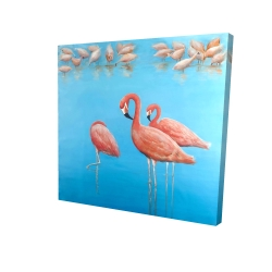 Canvas 24 x 24 - 3D - Group of flamingos