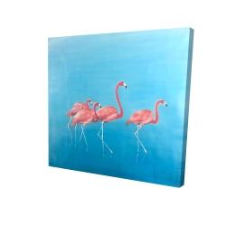 Canvas 24 x 24 - 3D - Four flamingos