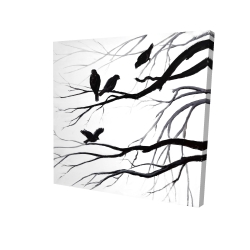 Canvas 24 x 24 - 3D - Silhouette of birds