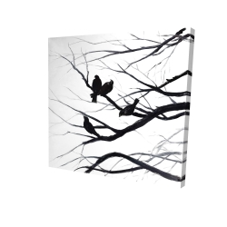 Canvas 24 x 24 - 3D - Birds and branches silhouette