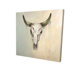 Canvas 24 x 24 - 3D - Color fading bull skull