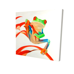 Canvas 36 x 36 - 3D - Red-eyed frog