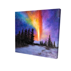 Canvas 24 x 24 - 3D - Aurora borealis in the forest