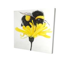 Canvas 24 x 24 - 3D - Bumblebee on a dandelion