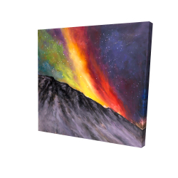 Canvas 24 x 24 - 3D - Aurora borealis in the mountain