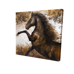 Canvas 24 x 24 - 3D - Horse rushing into the soil