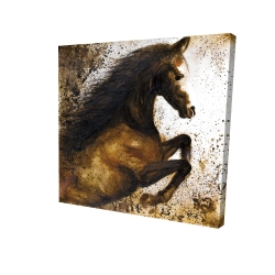 Canvas 24 x 24 - 3D - Horse rushing into the dust