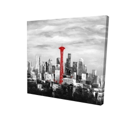 Canvas 24 x 24 - 3D - Space needle in red