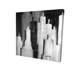 Canvas 24 x 24 - 3D - Abstract black and white cityscape