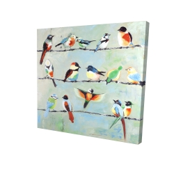Canvas 24 x 24 - 3D - Small abstract colorful birds