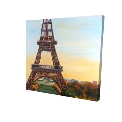 Canvas 24 x 24 - 3D - Eiffel tower by dawn