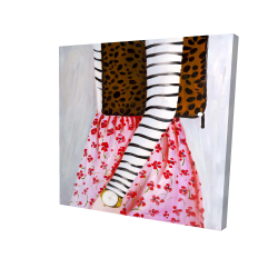 Canvas 24 x 24 - 3D - Fashionable woman with a leopard bag
