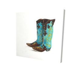 Canvas 24 x 24 - 3D - Blue cowboy boots
