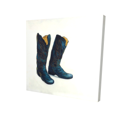Toile 24 x 24 - 3D - Bottes de cowboy de cuir