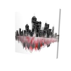 Canvas 24 x 24 - 3D - Red watercolor cityscape