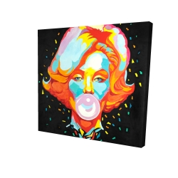 Canvas 24 x 24 - 3D - Colorful marilyne monroe bubblegum