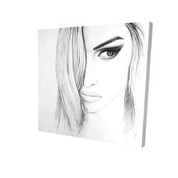 Canvas 24 x 24 - 3D - Black & white portrait