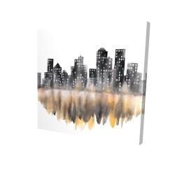 Canvas 24 x 24 - 3D - Yellow watercolor cityscape
