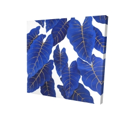 Canvas 24 x 24 - 3D - Tropical abstract blue leaves
